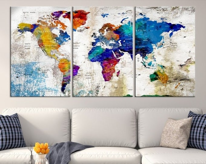 World map canvas prints world map canvas prints world map canvas push pin world map print art world map travel large gumiabroncs Gallery
