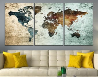 World map canvas etsy wall art world map large world map canvas print map push pin canvas print large wall art world travel map push pin wall art art picture gumiabroncs Images