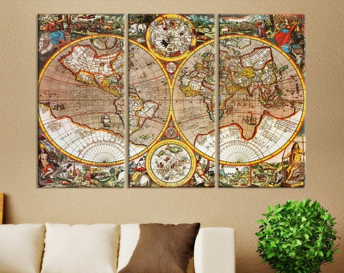 Antique world map world map canvas prints large wall art world map canvas print old map canvas print freerunsca Image collections