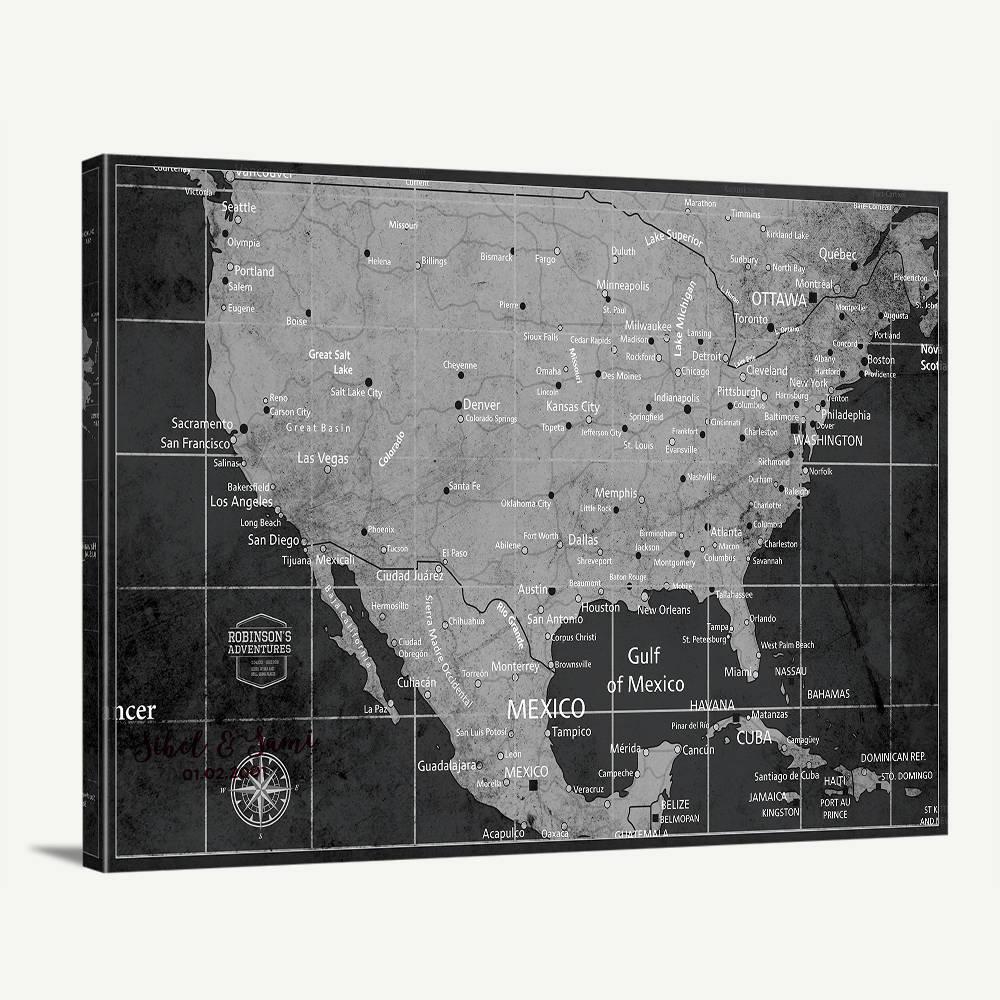 USA Map Wall Art, Push Pin US Map Art Canvas Print, Personalized USA Map  Adventures Wall Art Canvas Print   America Travel Map Canvas Print