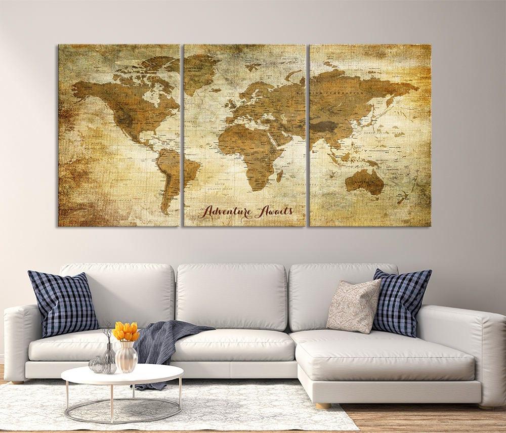 Large Wall Art Push Pin World Map Canvas Print - Extra Large World ...