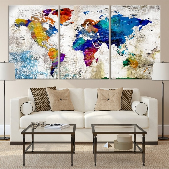 World map canvas push pin world map print art world map travel world map canvas push pin world map print art world map travel large world map print world map wall art watercolor world map art print gumiabroncs Images