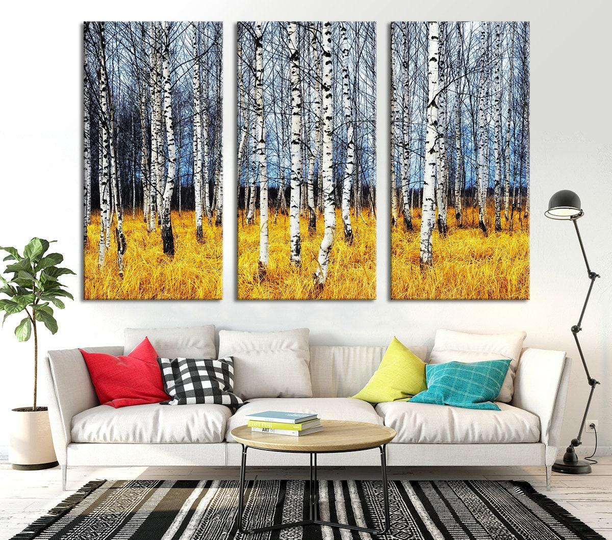 3 Panel Extra Large Wall Art Poplar Tree Wall Art, Forest Autumn ...