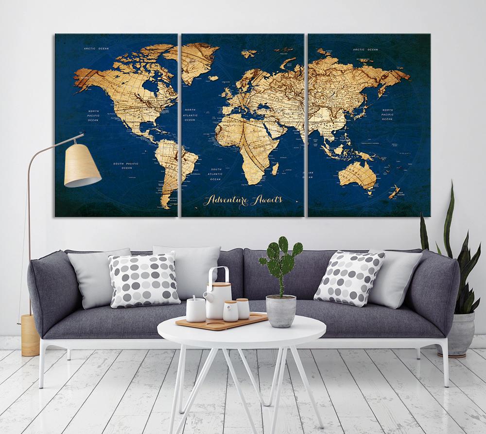World Map Wall Art Canvas Print World Map Print Art Large