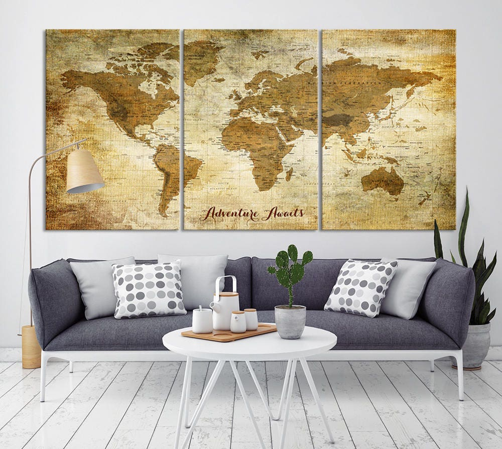 Large Wall Art Push Pin World Map Canvas Print - Extra Large World ...