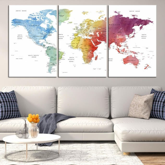 Large wall art world map canvas print custom world map push pin custom world map canvas poster print personalized wall art gallery photo gallery photo gumiabroncs Image collections