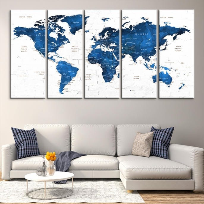 Large wall art world map canvas print navy blue world map push pin gallery photo gallery photo gallery photo gumiabroncs Image collections