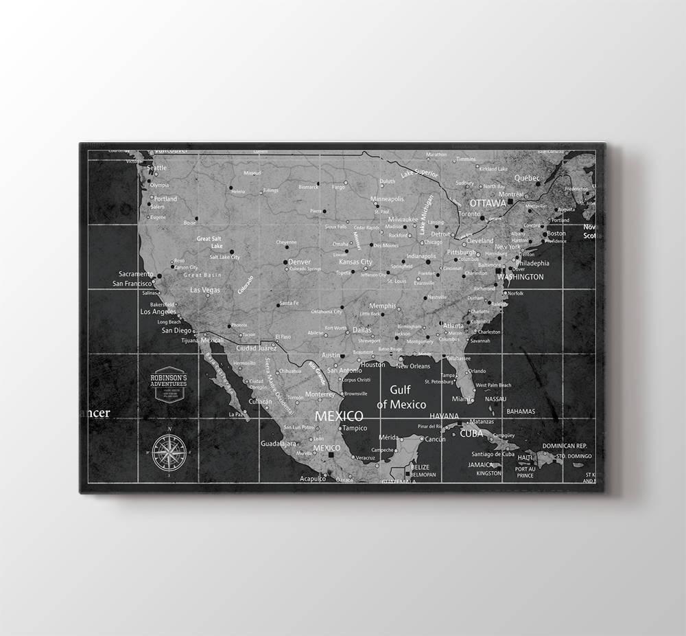 Personalized Us Map.Us Map Wall Art Usa Push Pin Wall Art Canvas Print Personalized