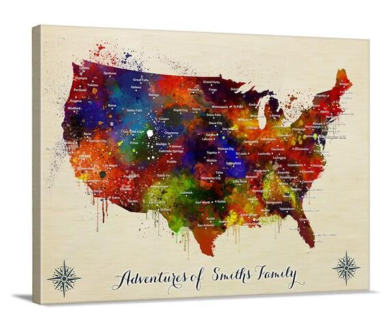 US Map Push Pin Wall Art Canvas Print Personalized USA Map