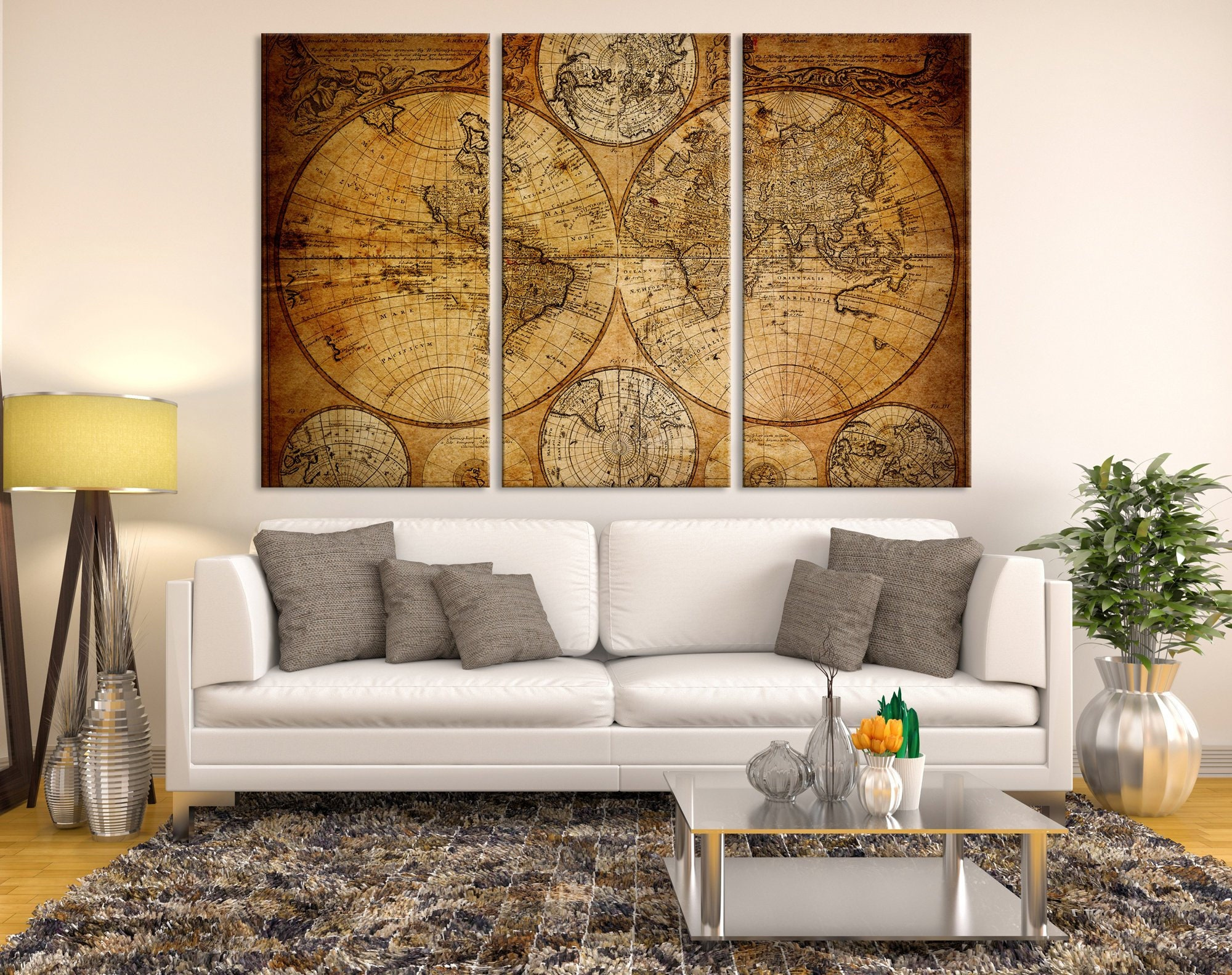 Old World Map Canvas.Large Wall Art World Map Canvas Print Old World Map Travel Etsy