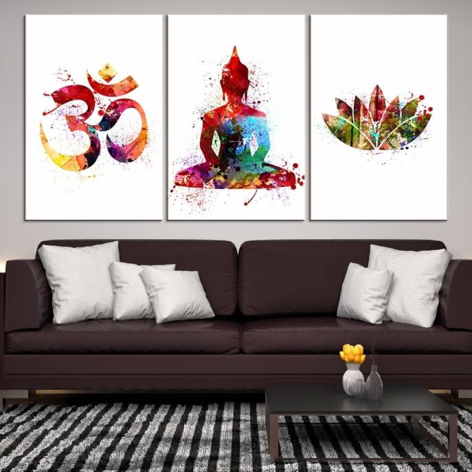 3 Panel Watercolor Buddha Wall Art Canvas Print, Buddha Om Symbol ...
