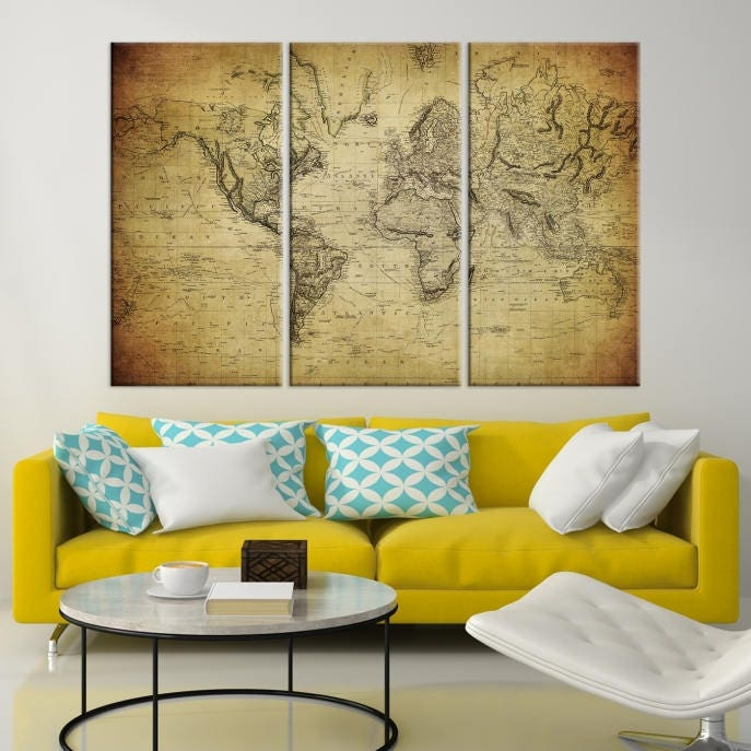 Old World Map Canvas.Large Wall Art World Map Canvas Print Old World Map Travel Canvas