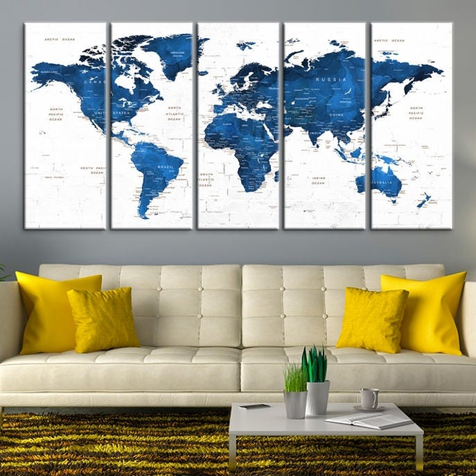 Large wall art world map canvas print navy blue world map push pin personalized world map wall art gallery photo gallery photo gumiabroncs Images