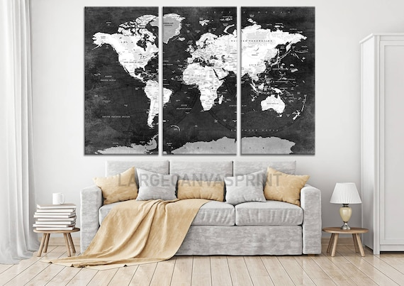 Black And White World Map Framed.Framed Black And White World Map Push Pin Canvas Wall Art Etsy