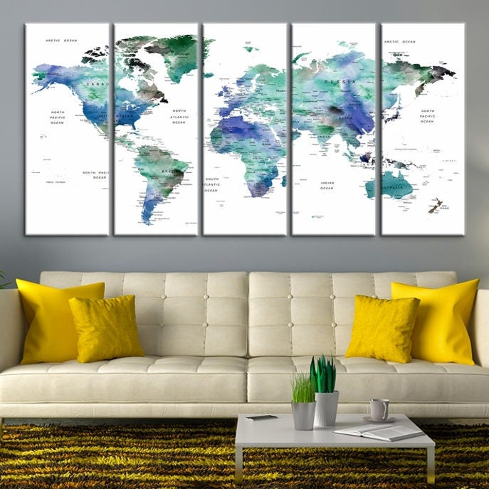 Large wall art world map canvas print custom world map push pin large wall art world map canvas print custom world map push pin wall art custom world map canvas poster print personalized wall art gumiabroncs Image collections