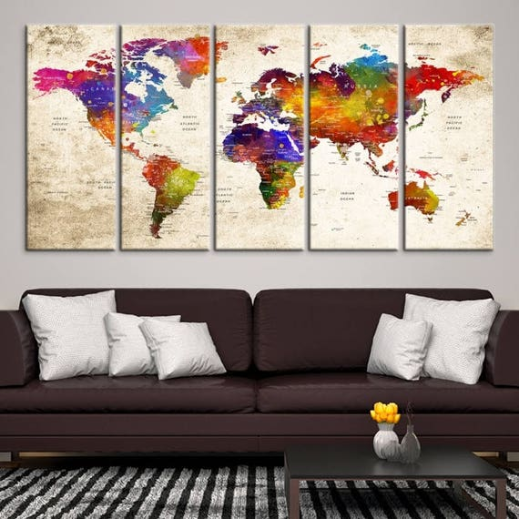 Large wall art world map canvas print watercolor world map etsy image 0 gumiabroncs Images