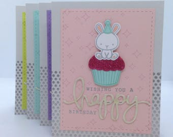 Bunny Cupcake Birthday Card
