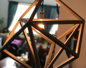 Wood Pendant Light // Geometric // Cube // Rustic // Modern // Vintage //  Plug In // Bedroom // Kitchen // Dining Room Lighting