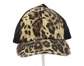 C.C. Leopard Washed Denim Mesh Criss Cross Cap - Messy Bun Cap- High Ponytail Ball Cap