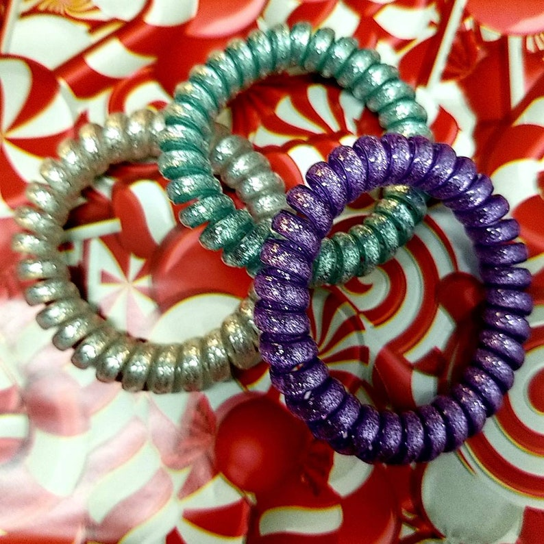 Ponytail Holder Unicorn Purple Glitter Hotline Phonecord  Hairties Set Phone Cord Scrunchie
