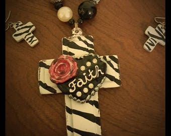 Chunky Wood Cross Faith Necklace Set
