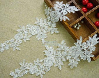 Elegance Flower Applique, Off white Alencon Lace Applique For Wedding Gown, Headpieces, Bridal Gloves, Costumes, One Pair, TH015