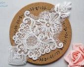Delicate Alencon Lace Applique In Off white, Rayon Embroidered Lace Applique, Wedding Lace Applique, Vintage Bridal Lace Applique, TH147