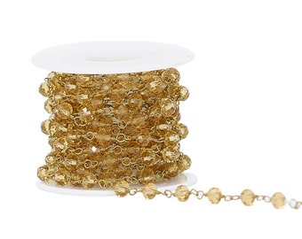 Lovely Bead 6x4mm Golden Shadow Crystal Rosary Chain in Antique Gold Wire (About 10 foot per Roll)