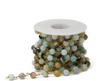 6mm and 8mm Lovely Bead Natural Amazonite Double Wrapped Chain in Antique gold Wire About 10 foots per roll