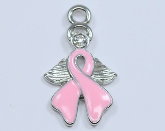 Lovely Bead Pink Ribbon Breast Cancer Awareness Angel Charm (25 mm)