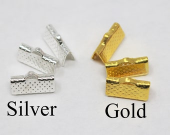 1046con25s1 Ribbon End Crimps 30ct Silver Jewelry Connectors 25mm x 8mm x 5mm