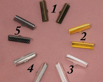 Ribbon Crimps CLS13 25 Pcs Antique Copper Ribbon Crimp Ends 19mm Fasteners Clasp Bronze Ribbon Clasp