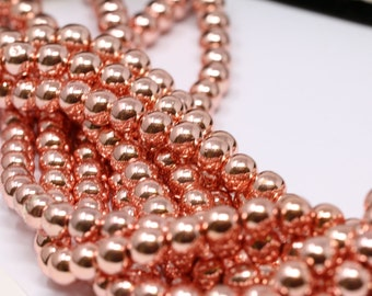 Rose Gold Smooth Round Spacer Loose Beads Jewelry  3MM 4MM 5MM 6MM 8MM 10MM