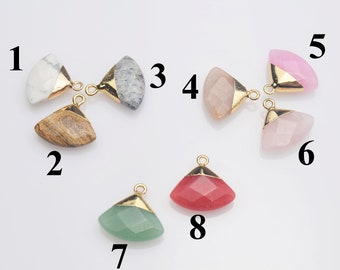5-10pcs,Natural Gemstone Pendant Mini Fan Shape Stone With Golden Electroplated Pendant Romantic Gift For Female