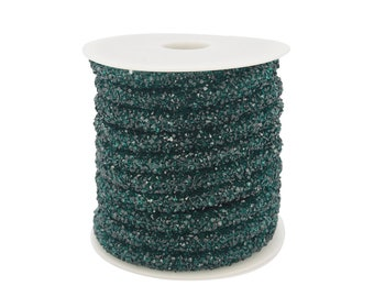 Lovely Bead Emerald Green Stardust Crystal Cord  (5 meters Per Roll)(4mm Hole)(6mm Wide)
