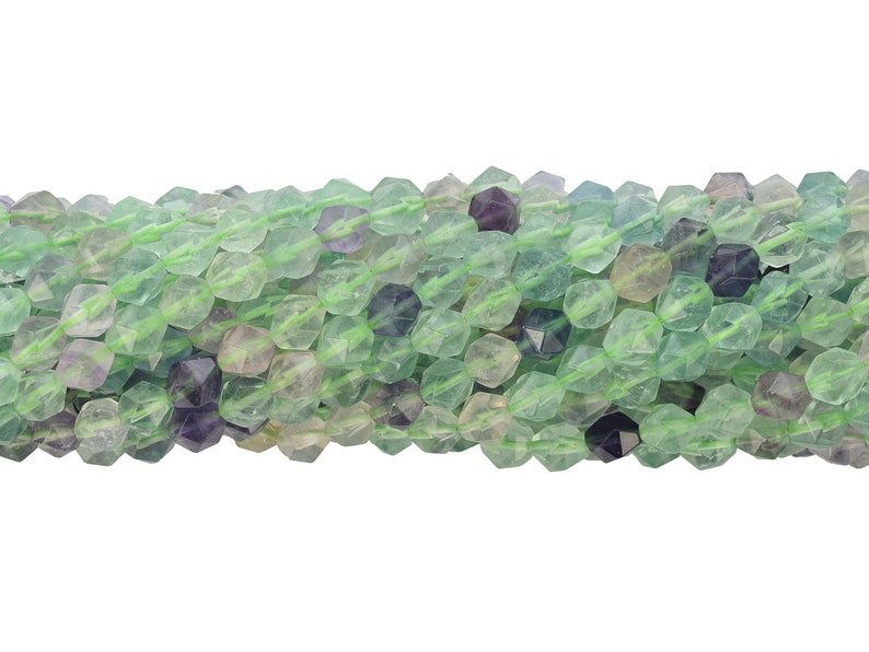 Faceted Fluorite PentagonHexagon Shape Bead Strand 16 Inches Long
