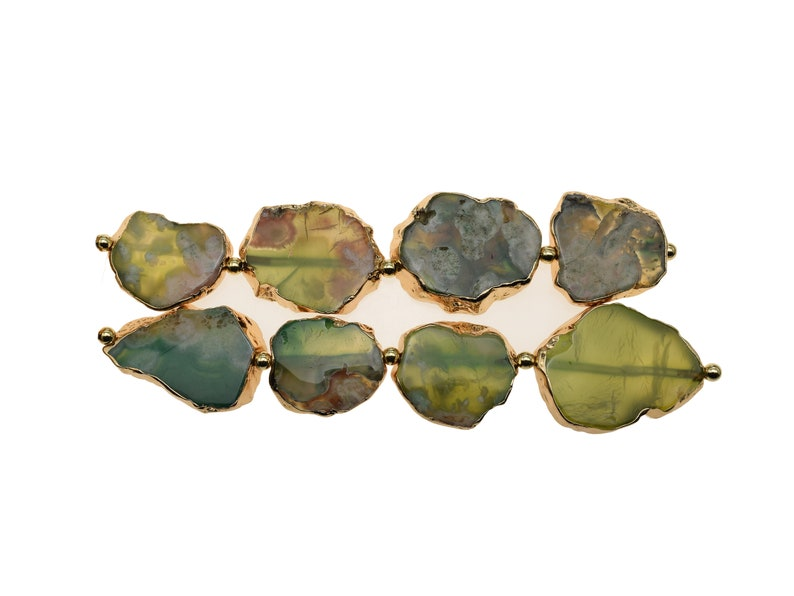 30-40mm Green Free Form Center Drilled Agate Slab Bead Strand 5 Pieces in the strand