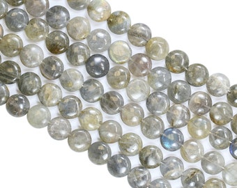 Lovely Bead 15x15mm Flat Round Labradorite Strand (16 Inches Long)