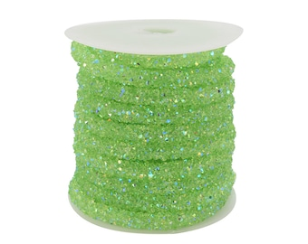 Lovely Bead Light Green Stardust Crystal Cord  (5 meters Per Roll)(4mm Hole)(6mm Wide)