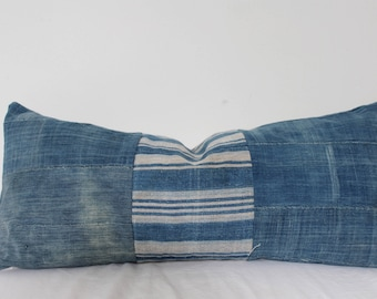 Vintage african indigo mud cloth striped and solid lumbar pillow cover only