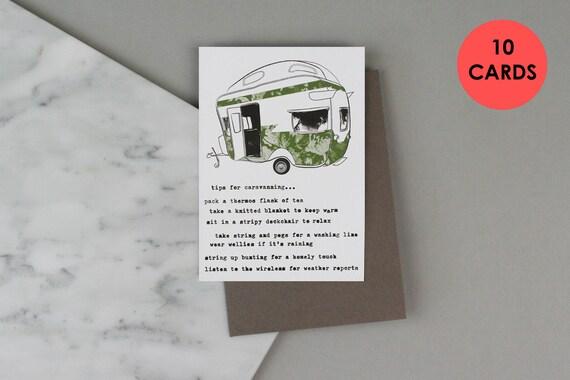Travel Card Caravan Birthday BUNDLE OF 10 CARDS