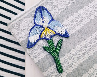 Brooch flower embroidered flower iris brooch embroidered brooch