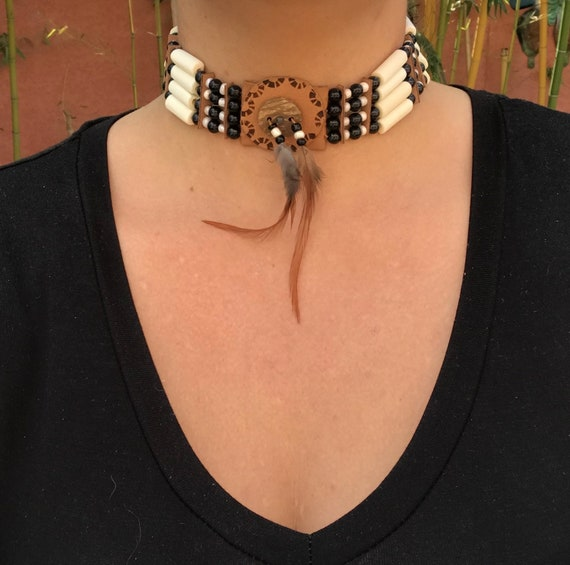 country Buffalo Collier amérindien et Bone Navajo choker Native Leather Choker cheyenne American en cuiros plumes Necklace apache wPNk8n0OX
