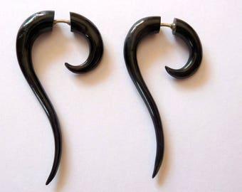 Pair of fake gauge earrings earrings piercing ethnic Buffalo Horn