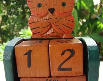Vintage perpetual calendar OWL cat turtle elephant Turtle Owl Cat Elephant Wood Perpetual Calendar