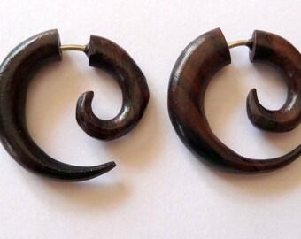 Fake gauge earrings earrings piercing ethnic wooden spiral