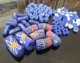 Indigo Krobo Bead Set, Indigo Beads, Krobo Beads, Mix Beads, Recycled Glass Beads, African Beads