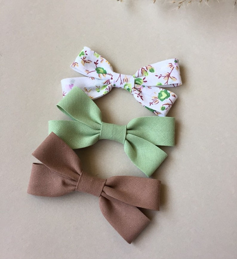 """2 GREEN AND WHITE GINGHAM 3/"""" INCH GIRLS RIBBON HAIR BOWS ALLIGATOR CLIP SET NEW"""