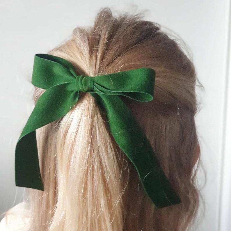 Red velvet long hair bow Ponytail hair bow Velvet hair tie Velvet bow with clips Ladies hair bows Long tail velvet ribbon bow