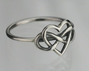 55aff8c7f8 Sterling Silver Infinite Love Ring .925 Infinity Heart Custom Sizes